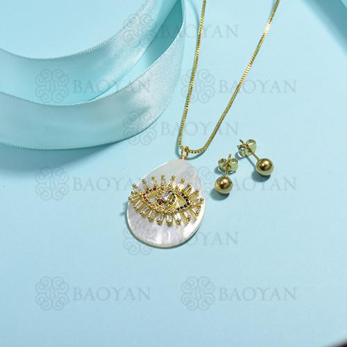 conjunto de collar de bronce y concha -SSCSG107-15850
