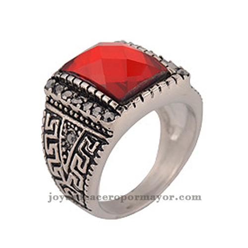 joyas-vintage anillos de piedra rubi con circulo especiales de acero inoxidable
