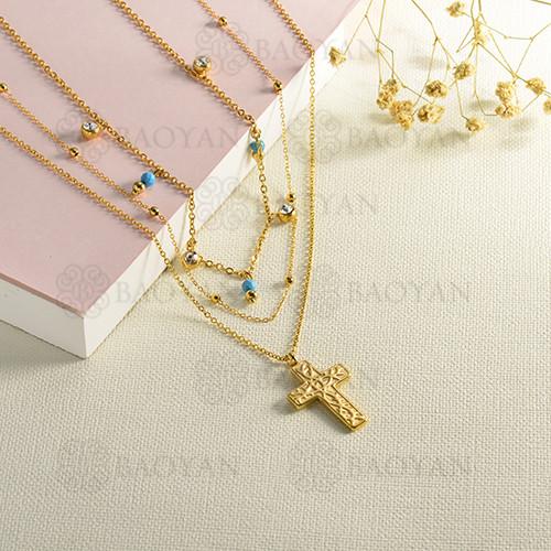 conjunto de collar y aretes en acero inoxidable -SSNEG142-15090