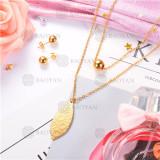 Conjunto de Collar y Aretes de Acero Inoxidable -SSNEG18-9094