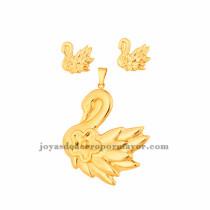 dije y aretes de cisne en acero de dorado para mujer-SSSTG073441