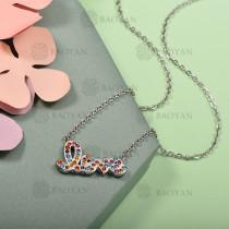 Collar de Acero Inoxidable con Cristal Multicolor -SSNEG143-12576