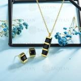 conjunto de collar y aretes en acero inoxidable -SSCSG126-15011