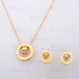 collar y aretes con numero romano de dorado en acero-SSNEG804099