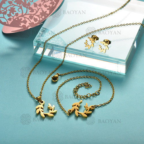 Joyas de Acero Inoxidable de Color Oro Dorado -SSNEG143-12228