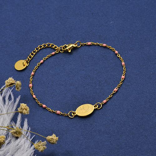 pulsera de Rosario Oro Dorado en Acero -SSBTG95-16110