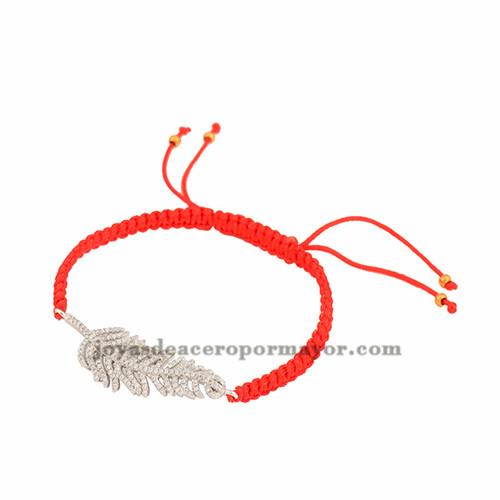 pulsera rojo de pluma plateada laminado para mujer BRBTG00062
