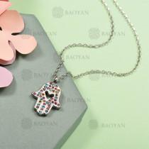 Collar de Acero Inoxidable con Cristal Multicolor -SSNEG143-12584