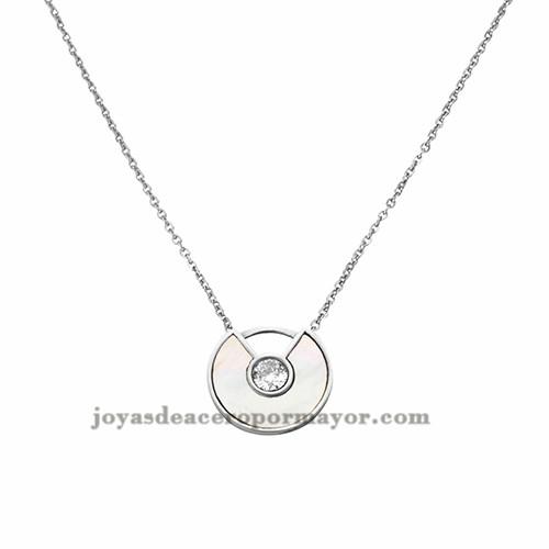 collar de perla con cristal en acero inoxidable para mujer de plateado-SSNEG402114