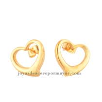 pendientes bonitos de corazon 18k oro dorado