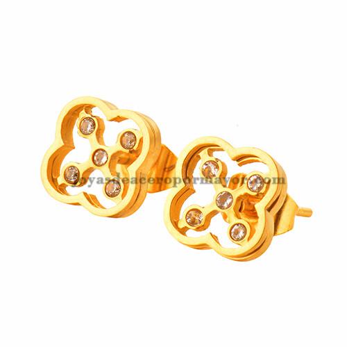aretes con cristal de dorado en acero inoxidable para mujer-SSEGG403476