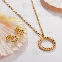 Conjunto de Collar Multi Color en Acero Inoxidable -SSNEG143-13054