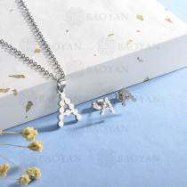 conjunto de collar y aretes en acero inoxidable -SSCSG143-15351-S