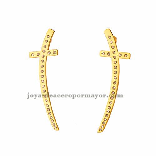 aretes de cruz con cristal de acero en dorado para mujer-SSEGG163475