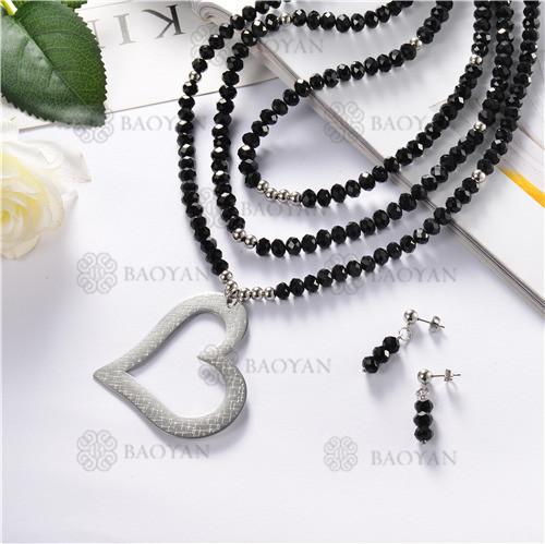juego collar y aretes de piedra con bola acero inoxidable-SSNEG18-10248