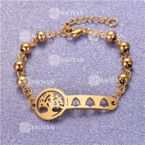 Pulsera con Bolitas Oro Dorado Para Mujer -SSBTG95-6198