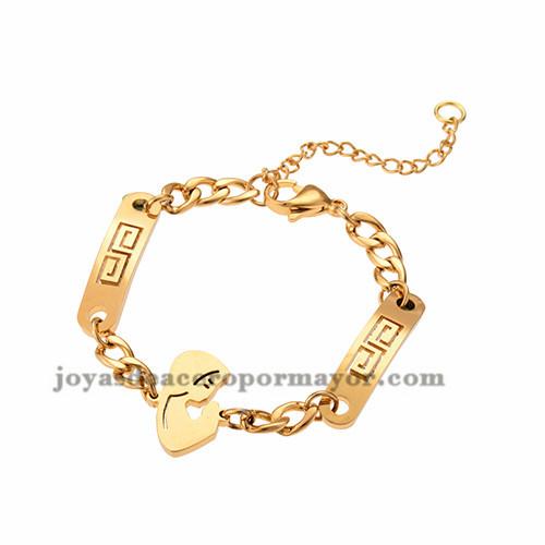 pulsera con dije de mujer de dorado en acero para mujer-SSBTG953975