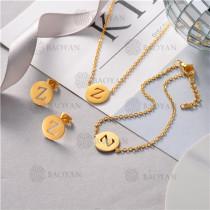 Conjunto de Pulsera Collar y Aretes en Acero Inoxidable -SSNEG126-10507