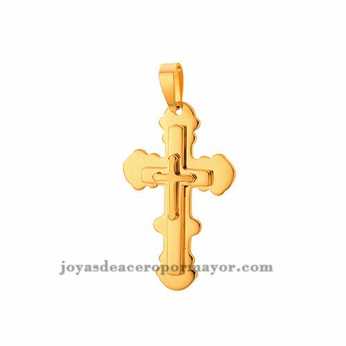 dije de cruz de acero dorado venta online -SSPTG27777