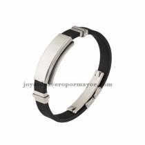 negro brazalete de silicona en acero inoxidable para hombre-SSBTG942863