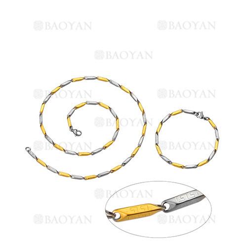 juego de collar y pulsera de plateado y dorado en acero para hombre-SSNEG463666