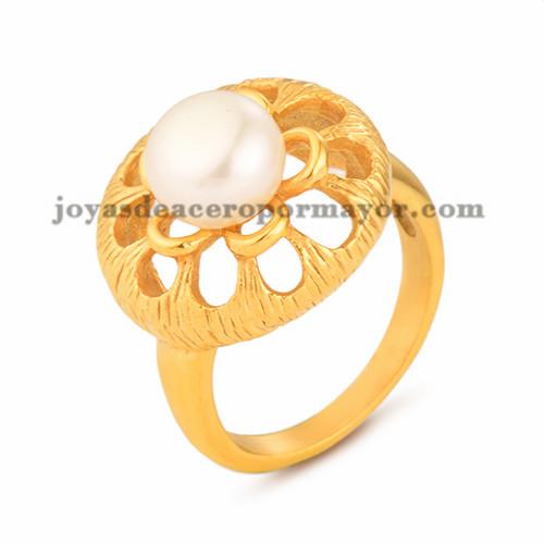 anillo con perla de dorado en acero para mujer-SSRGG11176