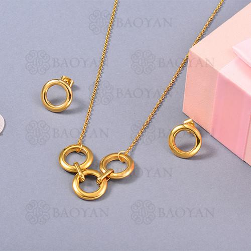 Conjunto de Collar de Numerales romanos en Acero Inoxidable -SSNEG126-13060
