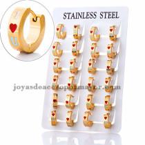argollas 13 mm de I love U estilo moda en acero dorado inoxidable -SSEGG383956