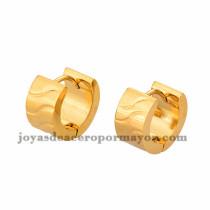 argollas 13mm rayas dorado en acero inoxidable -SSEGG384236