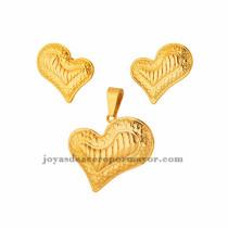 dije y aretes de corazon en acero de dorado para mujer-SSSTG073395