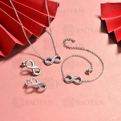 conjunto de collar y aretes en acero inoxidable -SSBNG126-15060
