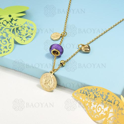 collar de charms en acero inoxidable -SSNEG142-16218