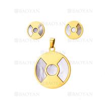 juego collar y aretes de ronda piedra concha en acero dorado inoxidable para mujer-SSSTG404452