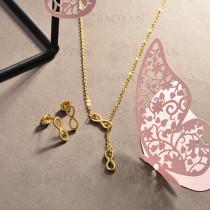 conjunto de collar y aretes en acero inoxidable -SSCSG126-15023