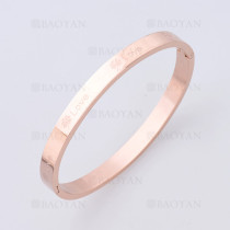 pulsera con trebol en acero de oro rosado -SSBTG1225226