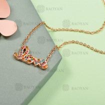 Collar de Acero Inoxidable con Cristal Multicolor -SSNEG143-12577