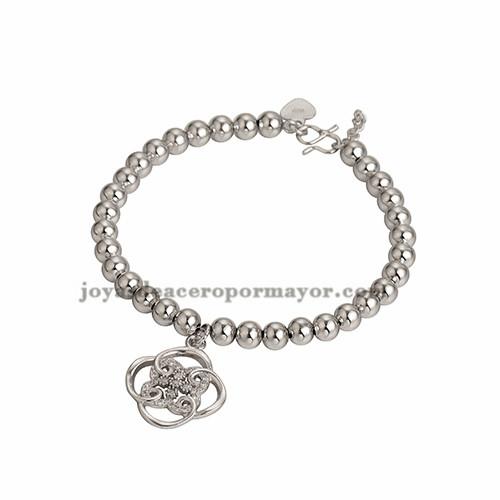 bracelete de dije trebol estilo especial cristal en cobre bola plateado para mujer -BRBTG99347