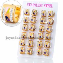 argollas 13 mm de estilo brillante moda en acero dorado inoxidable -SSEGG383907