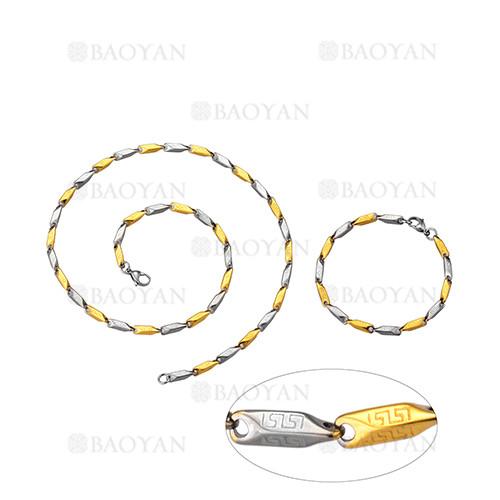 juego de collar y pulsera de plateado y dorado en acero para hombre-SSNEG463663