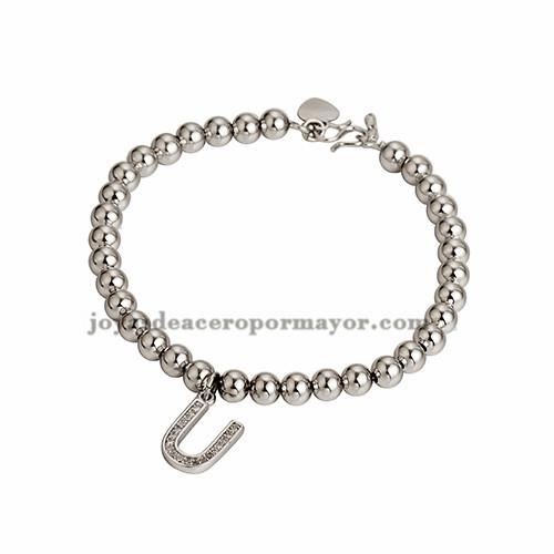 bracelete de bola :5mm con dije letra  U moda cristal en cobre plateado para dama-BRBTG99338
