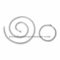 juego collar y brazalete de plateado en acero inoxidable para hombre -SSNEG462669