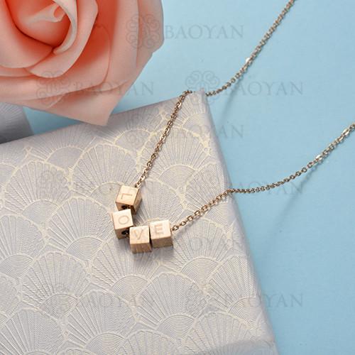 collar de color oro rosado en acero inoxidable -SSNEG175-16477