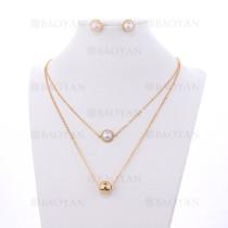 collar y aretes de bolas con perla en acero de dorado-SSNEG394137