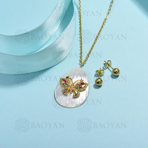 conjunto de collar de bronce y concha -SSCSG107-15852