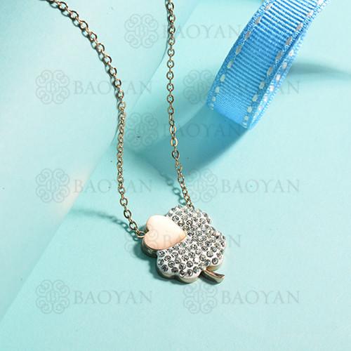 collares de acero inoxidable para mujer -SSNEG143-15384-R