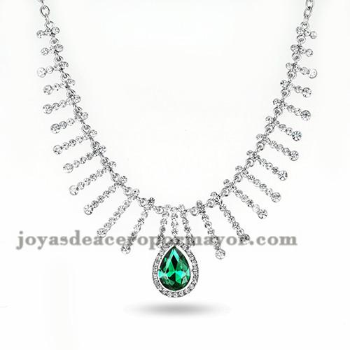 collar grandes  plateado de cristal verde  noble brillantes para mujer -ACNEG106045