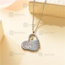 Collar Regalo para Novia en el Dia de Amor en Acero Inoxidable -SSNEG143-11331