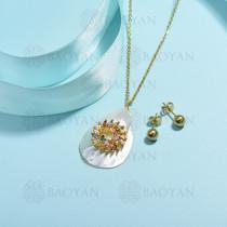 conjunto de collar de bronce y concha -SSCSG107-15853