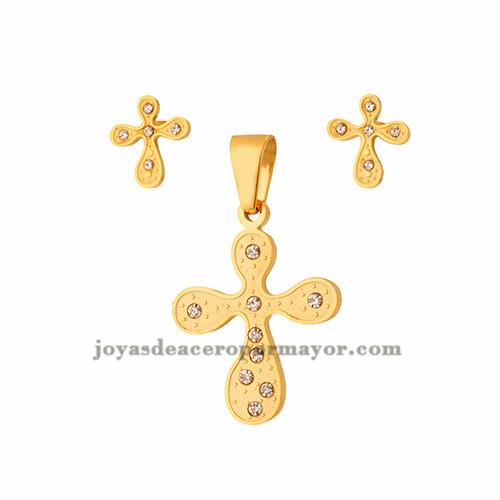 dije y aretes de cruz en acero de dorado-SSSTG323349