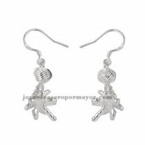 aretes de flor de color plateado en acero inoxidable para mujer-BREGG91172